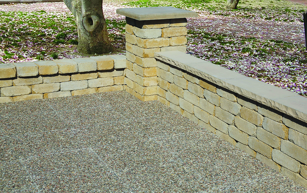 Chelsey Wall, sandstone, with Chelsey coping and Chelsey pillar cap